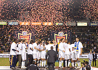 The LA Galaxy celebrate winning the Western Conference Final. The LA Galaxy defeated the Houston Dynamo 2-0 in OT to win the MLS Western Conference Final at Home Depot Center stadium in Carson, California on Friday November 13, 2009...