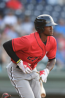Right fielder Micker Adolfo (27) of the Kannapolis Intimidators in a game against the Greenville Drive on Wednesday, July 12, 2017, at Fluor Field at the West End in Greenville, South Carolina. Greenville won, 12-2. (Tom Priddy/Four Seam Images)