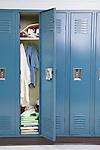 USA, Illinois, Metamora, Open locker in school