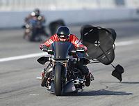 Feb 8, 2020; Pomona, CA, USA; NHRA top fuel nitro Harley Davidson motorcycle rider Randal Andras during qualifying for the Winternationals at Auto Club Raceway at Pomona. Mandatory Credit: Mark J. Rebilas-USA TODAY Sports