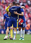Alvaro Morata of Chelsea and Olivier Giroud of Chelsea celebrate at the end of the FA cup semi-final match at Wembley Stadium, London. Picture date 22nd April, 2018. Picture credit should read: Robin Parker/Sportimage