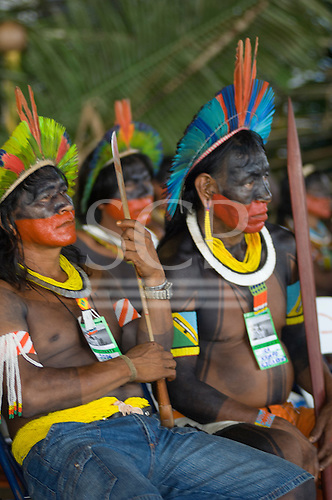 Altamira, Brazil. Angry Kayapo chiefs at the Encontro Xingu protest meeting.