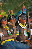 Altamira, Brazil. Angry Kayapo chiefs at the Encontro Xingu protest meeting.