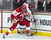 Sean Escobedo (BU - 21), Bill Arnold (BC - 24) - The Boston College Eagles defeated the visiting Boston University Terriers 5-2 on Saturday, December 1, 2012, at Kelley Rink in Conte Forum in Chestnut Hill, Massachusetts.
