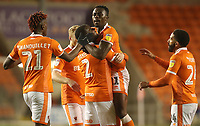 Blackpool's Joe Dodoo celebrates scoring his sides first goal<br /> <br /> Photographer Rachel Holborn/CameraSport<br /> <br /> The EFL Checkatrade Trophy Group C - Blackpool v Accrington Stanley - Tuesday 13th November 2018 - Bloomfield Road - Blackpool<br />  <br /> World Copyright © 2018 CameraSport. All rights reserved. 43 Linden Ave. Countesthorpe. Leicester. England. LE8 5PG - Tel: +44 (0) 116 277 4147 - admin@camerasport.com - www.camerasport.com