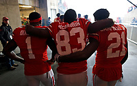 Ohio State Buckeyes wide receiver Johnnie Dixon III (1), wide receiver Terry McLaurin (83) and wide receiver Parris Campbell Jr. (21) hug before being called onto the field for senior day against Michigan Wolverines at Ohio Stadium in Columbus, Ohio on November 24, 2018. [Kyle Robertson/Dispatch]