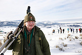 USA, Wyoming, Yellowstone National Park, Rick McIntyre, the dean of park service wolf-watchers, Blacktail Deer Plateau