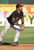 2007:  Alexi Casilla of the Rochester Red Wings delivers a pitch at Frontier Field during an International League baseball game. Photo By Mike Janes/Four Seam Images