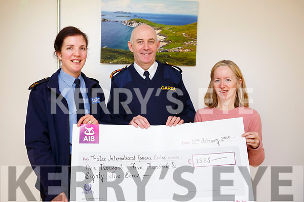 Tralee Garda Station hosted a coffee morning on Monday morning last to present a cheque from the Annual Christmas Street Collection to Tralee International Resource Centre.<br /> L-r, Garda Patricia Fitzpatrick,  Chief Superintendent Tom Myers and Mary Carroll (Tralee International Resource Centre).
