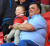 Scarlets fans enjoying the pre match atmosphere.<br /> <br /> Photographer Dan Minto/CameraSport<br /> <br /> Guinness PRO12 Round 19 - Scarlets v Benetton Treviso - Saturday 8th April 2017 - Parc y Scarlets - Llanelli, Wales<br /> <br /> World Copyright &copy; 2017 CameraSport. All rights reserved. 43 Linden Ave. Countesthorpe. Leicester. England. LE8 5PG - Tel: +44 (0) 116 277 4147 - admin@camerasport.com - www.camerasport.com