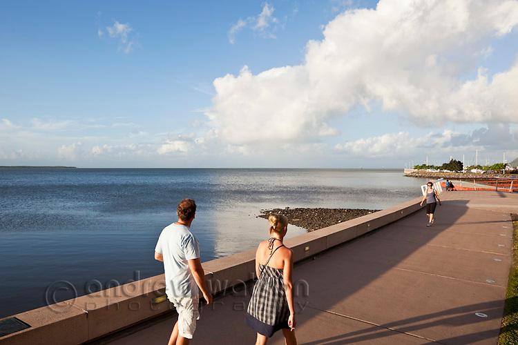 Tourists walking along Esplanade.  Cairns, Queensland, Australia