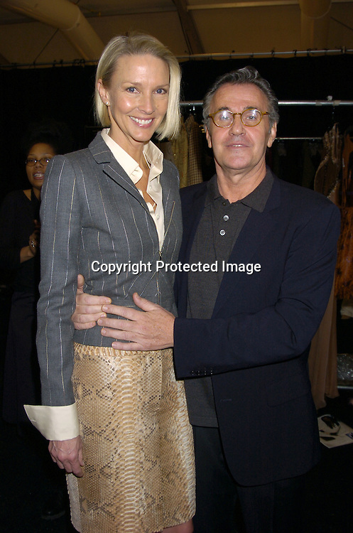Karen Bjornson and Michael Volbracht..at The Bill Blass Fall 2005 Fashion Show on February 8, 2005  at The Tents in Bryant Park.  Michael Volbracht is the designer. ..Photo by Robin Platzer, Twin Images