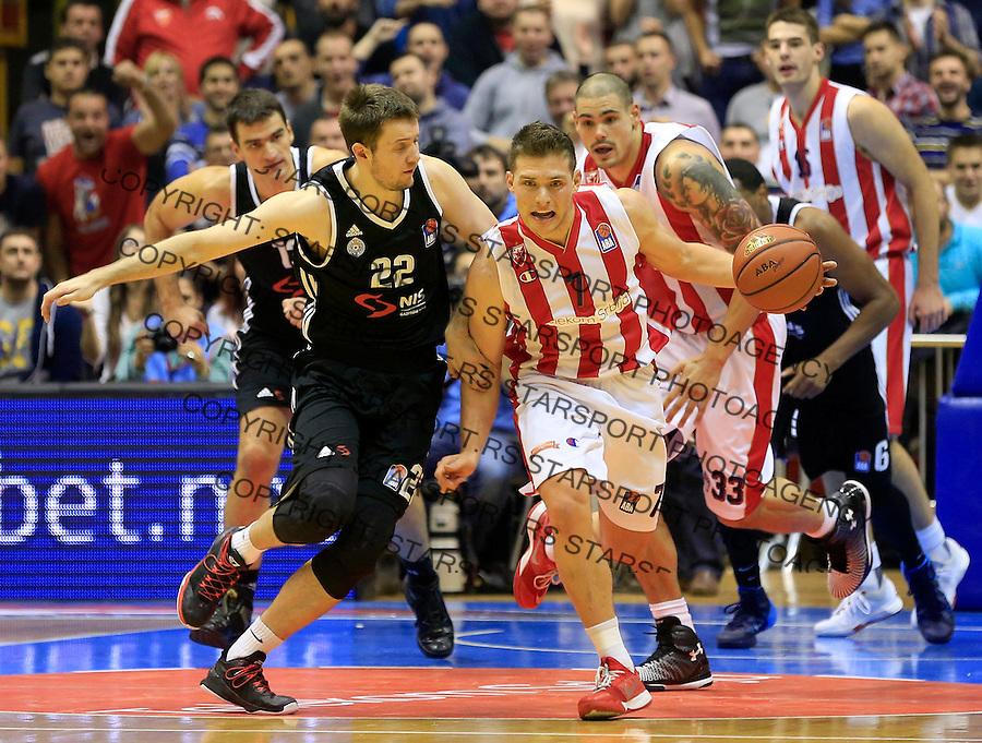 Kosarka ABA League season 2015-2016<br /> Crvena Zvezda v Partizan<br /> Gal Mekel (R) and Andrija Milutinovic<br /> Beograd, 03.11.2015.<br /> foto: Srdjan Stevanovic/Starsportphoto&copy;