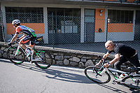 Enrico Barbin (ITA/Bardiani - CSF) is part of the breakaway group when he suffers a mechanical up the first climb of the day; the Colle Gallo (763m). When his mechanic hands him a new bike and pushes him off, he does so while holding on to the original bike and falls over it in the process...<br /> usually the bike is left on the road (or by the side) until after the rider is pushed off (exactly to prevent this from happening)<br /> <br /> 113th Il Lombardia 2019 (1.UWT)<br /> 1 day race from Bergamo to Como (ITA/243km)<br /> <br /> ©kramon