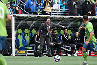 SEATTLE, WA - NOVEMBER 10: Head Coach Greg Vanney of Toronto FC yells instructions to his team during a game between Toronto FC and Seattle Sounders FC at CenturyLink Field on November 10, 2019 in Seattle, Washington.