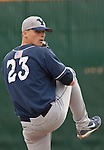 March 30, 2012:   BYU Cougars starting pitcher Mark Anderson throws against the Nevada Wolf Pack during their NCAA baseball game played at Peccole Park on Friday afternoon in Reno, Nevada.