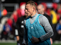 WASHINGTON, DC - MARCH 07: Erik Sorga #50 of DC United warms up during a game between Inter Miami CF and D.C. United at Audi Field on March 07, 2020 in Washington, DC.