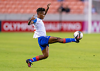 HOUSTON, TX - FEBRUARY 3: Johane Laforte #15 of Haiti controls the ball during a game between Panama and Haiti at BBVA Stadium on February 3, 2020 in Houston, Texas.