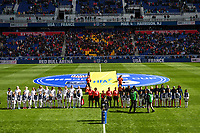 Harrison, N.J. - Sunday March 04, 2018: Starting line ups of the National teams of USA and France during a 2018 SheBelieves Cup match between the women's national teams of the United States (USA) and France (FRA) at Red Bull Arena.