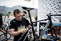 post-race bike cleaning & check at the Team Mitchelton-Scott hotel<br /> <br /> Stage 6: Mora de Rubielos to Ares del Maestrat (199km)<br /> La Vuelta 2019<br /> <br /> ©kramon