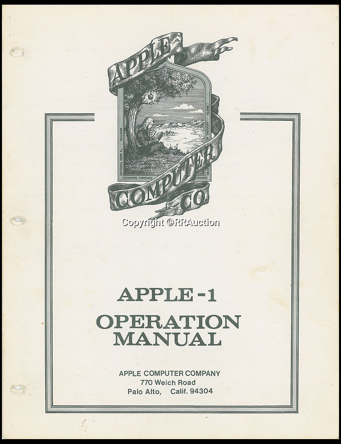 BNPS.co.uk (01202 558833)<br /> Pic : RRAuction/BNPS<br /> <br /> An original Apple-1 operation manual, one of the items included with the fully functioning original computer which is on sale for £230,000.<br /> <br /> An extremely rare Apple-1 computer which is in full working order 42 years after Steve Jobs built it in his garage has emerged for sale for £230,000. ($300,000)<br /> <br /> The collector's machine was one of 200 the late Apple founder and his associate Steve Wozniak designed, created and sold in 1976.<br /> <br /> There are believed to be about 60 Apple-1 computers in existence today, with only a handful still fully functioning.<br /> <br /> The groundbreaking computer that gave birth to the Apple empire was the first ready-made PC to ever come on the market, selling for $666 at the time.