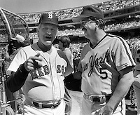1987 All star game managers, John McNamara, and Davey Johnson. In Oakland-Alameda County Coliseum.<br />