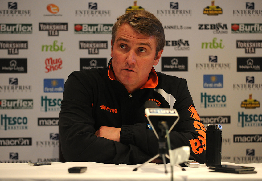 Blackpool manager Lee Clark during the post-match press conference<br /> <br /> Photographer Kevin Barnes/CameraSport<br /> <br /> Football - The Football League Sky Bet Championship - Leeds United v Blackpool - Saturday 8th November 2014 - Elland Road - Leeds<br /> <br /> &copy; CameraSport - 43 Linden Ave. Countesthorpe. Leicester. England. LE8 5PG - Tel: +44 (0) 116 277 4147 - admin@camerasport.com - www.camerasport.com