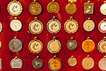 Barboursville Vineyards displays their many medals in cases on the wall in the tasting room.