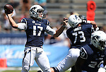 Nevada's quarterback Cody Fajardo (17) passes against Southern Utah in the first half of an NCAA college football game on Saturday, Aug. 30, 2014 in Reno, Nev. (AP Photo/Cathleen Allison)