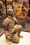 "The ""Kneeling Archer,"" one of eight terracotta statues in the ""Terra Cotta Warriors: The Emperor's Painted Army,"" Exhibit directly from Xian in the Shaanxi Province, China which debuted in 2014 at the Children's Museum, Indianapolis, Indiana, USA"