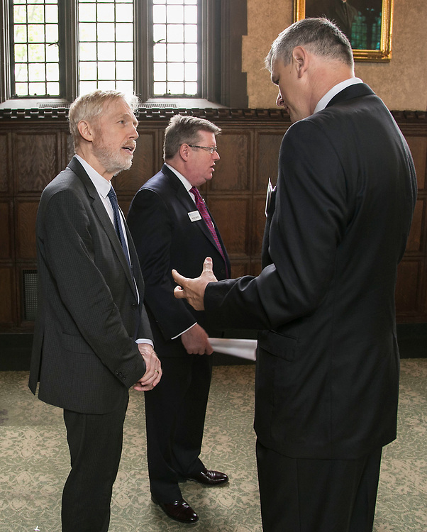 Provost Marten denBoer, left, speaks with Berislav Vujeva of Bosnia and Herzegovina, as dignitaries arrive for the 12th Annual Consular Corps Luncheon, Thursday, May 5, 2017, on DePaul's Lincoln Park Campus. The event brings together members of the international consulate community with university staff and faculty as community partners. Consuls and their staff are important allies in DePaul's internationalization efforts. Their help and support is crucial to facilitate partnerships, mobility programs and educational programs.(DePaul University/Jamie Moncrief)