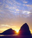 USA; Oregon. Sunset over Gold Beach on the Oregon Coast