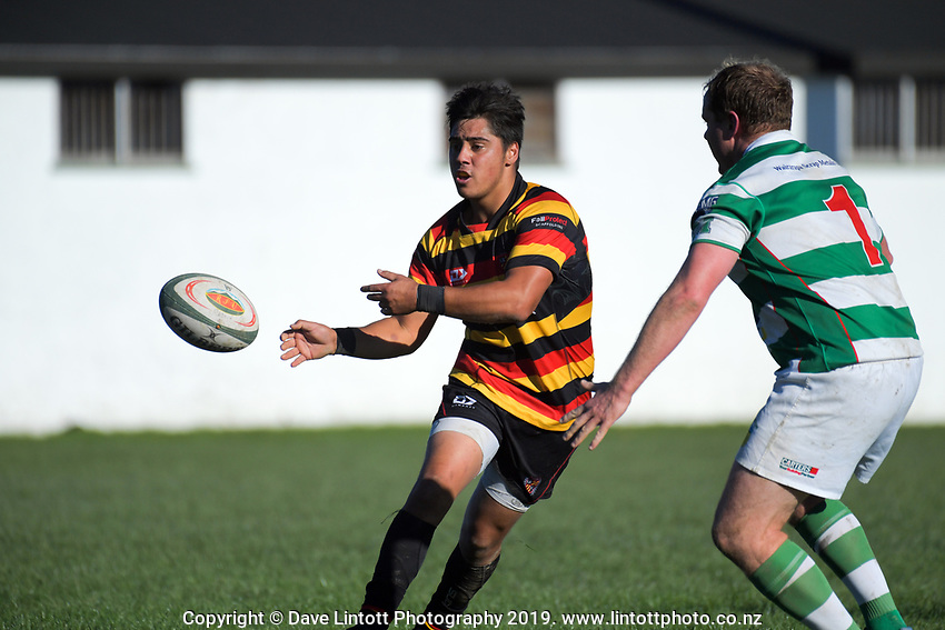 Action from the Wairarapa Bush premier club rugby match between Marist and Greytown at Memorial Park in Masterton, New Zealand on Saturday, 4 May 2019. Photo: Dave Lintott / lintottphoto.co.nz