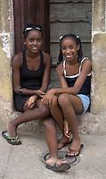 two girls, street scene in Havana, Cuba