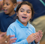 Students at Doagn Elementary School celebrate winning the Read to the Final Four competition, April 4, 2016.