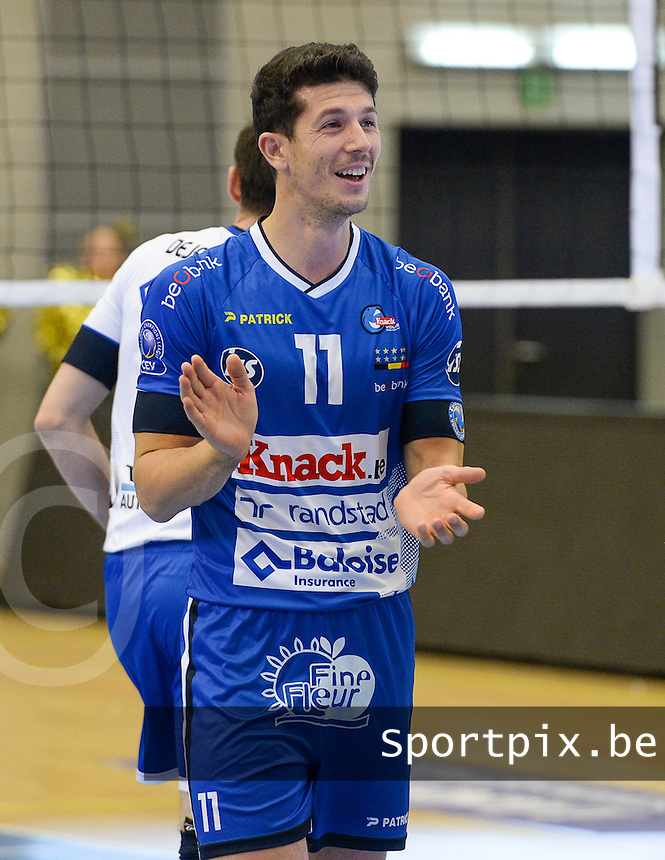 20161228 - ROESELARE ,  BELGIUM : Roeselare's Gertjan Claes pictured during the second semi final in the Belgian Volley Cup between Knack Volley Roeselare and Lindemans Aalst in Roeselare , Belgium , Wednesday 28 th December 2016 . PHOTO SPORTPIX.BE | DAVID CATRY