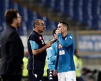 Calcio, Serie A: Roma, stadio Olimpico, 14 ottobre 2017.<br /> Napoli's coach Maurizio Sarri (l) speaks with Napoli's Jos&eacute; Maria Callejon (r) during the Italian Serie A football match between Roma and Napoli at Rome's Olympic stadium, October14, 2017.<br /> UPDATE IMAGES PRESS/Isabella Bonotto