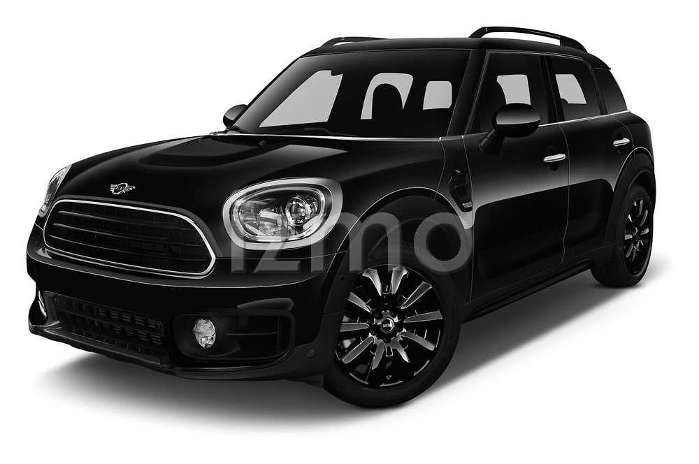 Stock pictures of low aggressive front three quarter view of a 2018 Mini Countryman Oakwood 5 Door Hatchback