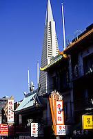 Chinatown with the Transamerica Pyramid skyscraper in San Francisco, California, USA
