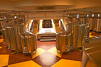 The winery, stainless steel fermentation tanks in a round building from above - Chateau Baron Pichon Longueville, Pauillac, Medoc, Bordeaux, Grand Cru