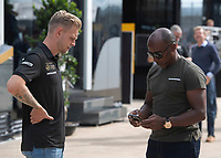 Kevin MAGNUSSEN (DEN) (RICH ENERGY HAAS F1 TEAM) and Anthony HAMILTON during the Formula 1 Rolex British Grand Prix 2019 at Silverstone Circuit, Towcester, England on 14 July 2019. Photo by Vince  Mignott.