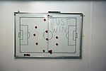 The tactics board in the home dressing room at the Commonwealth Stadium before Edinburgh City took on Elgin City in an SPFL League 2 fixture at Meadowbank. The ground was due to be demolished at the end of the 2016-17 season, City's first in the Scottish League since promotion the previous season from the Lowland League. Edinburgh City won this game 3-0, their best result of the season thus far, watched by 396 spectators.
