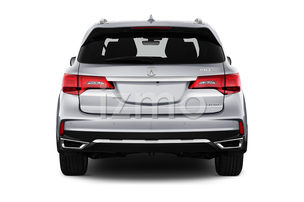 Straight rear view of a 2018 Acura MDX Sport Hybrid Advance Package 5 Door SUV stock images
