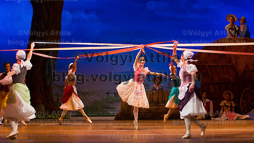Dancer Adrienn Pap (center) as Lise perform in the dance piece La Fille Mal Gardee or The Wayward Daughter Choreographed by Sir Frederick Ashton presented by the Hungarian National Ballet Company in Hungary State Opera House,  Budapest, Hungary, Tuesday, 23. November 2010. ATTILA VOLGYI