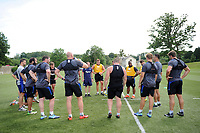 The Bath Rugby forwards huddle together. Bath Rugby pre-season skills training on June 22, 2017 at Farleigh House in Bath, England. Photo by: Patrick Khachfe / Onside Images