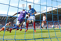 Jamal Lowe of Portsmouth second left scores the first goal during Portsmouth vs Luton Town, Sky Bet EFL League 1 Football at Fratton Park on 4th August 2018