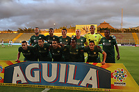 BOGOTA - COLOMBIA - 21 - 08 - 2017: Jugadores de La Equidad posan para una foto previo al encuentro entre Equidad y Atletico Huila por la fecha 9 de la Liga Aguila II 2017 jugado en el estadio Nemesio Camacho El Campin de la ciudad de Bogota. / Players of La Equidad pose to a photo prior the match betweenEquidad and Atletico Huilafor the date 6 of the Liga Aguila II 2017 played at the Metropolitano de Techo Stadium in Bogota city, Photo: VizzorImage  /Felipe Caicedo / Staff.