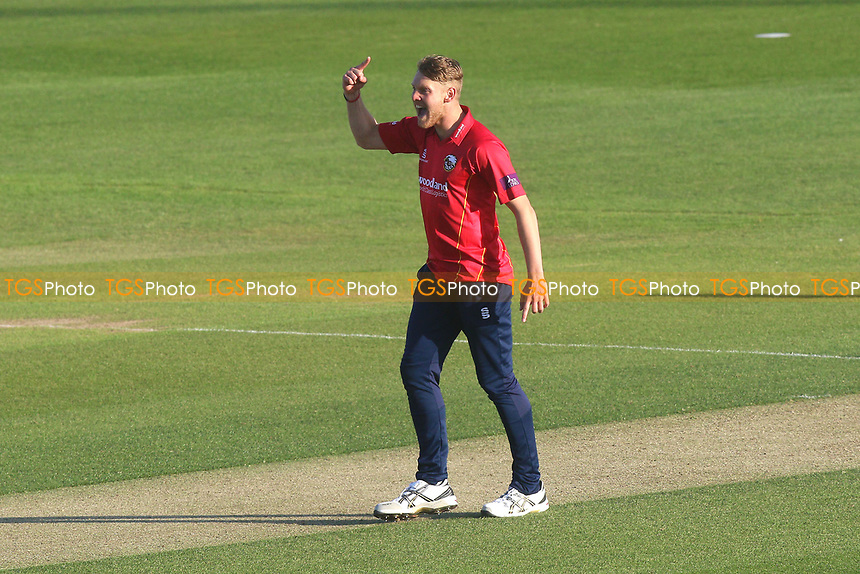 Jamie Porter of Essex celebrates taking the wicket of Luke Wright during Essex Eagles vs Sussex Sharks, Royal London One-Day Cup Cricket at The Cloudfm County Ground on 10th May 2017