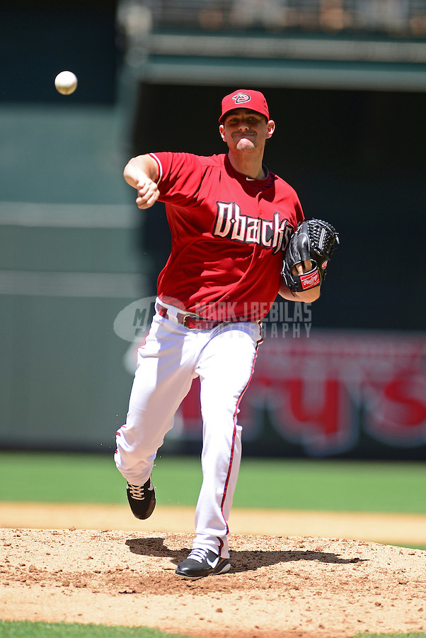 Apr. 18, 2012; Phoenix, AZ, USA; Arizona Diamondbacks pitcher Daniel Hudson throws in the second inning against the Pittsburgh Pirates at Chase Field. Mandatory Credit: Mark J. Rebilas-