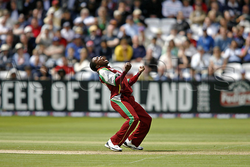 1 July 2007: West Indies bowler Fidel Edwards celebrates taking his fifth wicket, that of S Broad during the first Natwest series one day International between England and West Indies at Lords. England won the match by 79 runs Photo: Neil Tingle/Action Plus...070701 cricket cricketer joy celebration